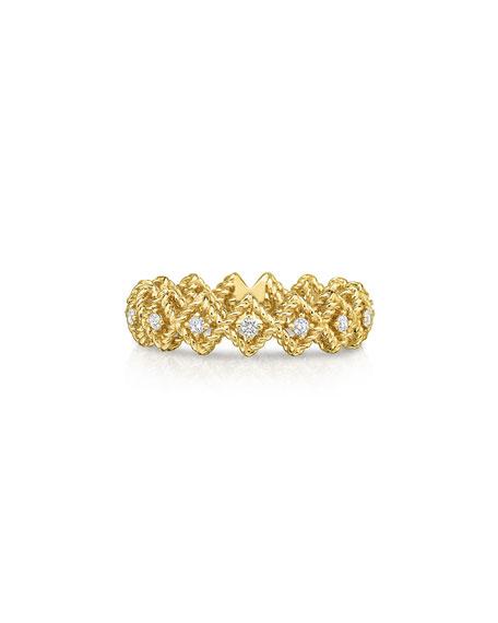Barocco Single-Row Diamond Ring in 18K Yellow Gold, Size 6