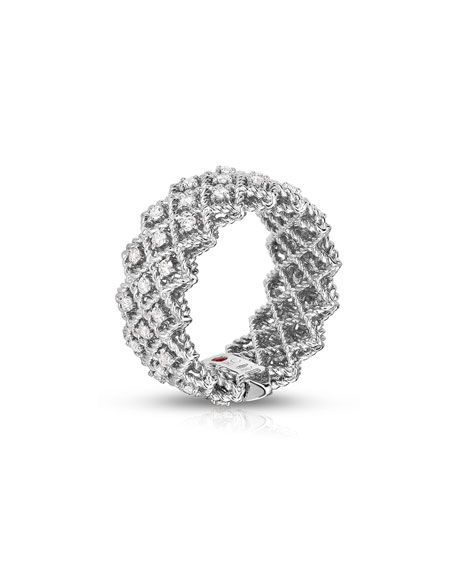 Barocco Three-Row Ring with Diamonds in 18K White Gold, Size 6.5