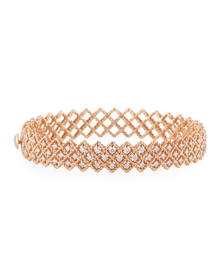 Barocco Three-Row Diamond Bracelet in 18K Rose Gold