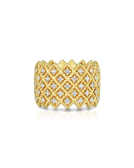 Barocco Five-Row Ring with Diamonds in 18K Gold, Size 6.5