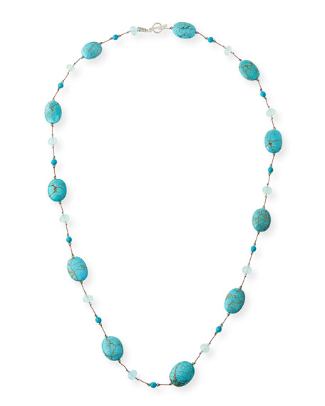Turquoise & Aqua Chalcedony Station Necklace
