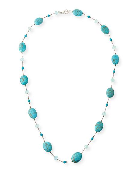 Turquoise & Aqua Chalcedony Station Necklace