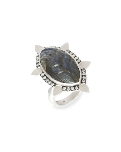 Affinity Ring with Carved Labradorite and Diamonds