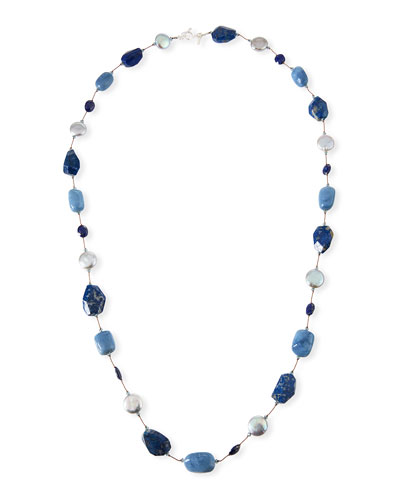 Blue Stone & Pearl Necklace