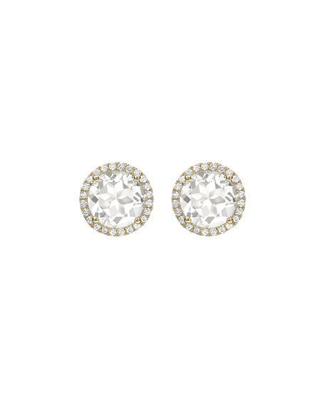 Grace White Topaz Diamond Halo Stud Earrings In 18k Yellow Gold