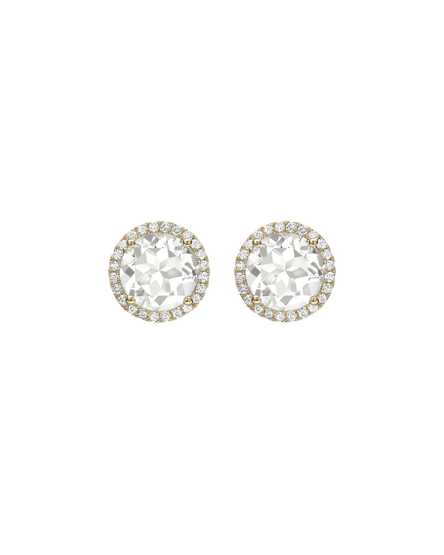 Grace White Topaz Diamond Halo Stud Earrings In 18k Yellow Gold