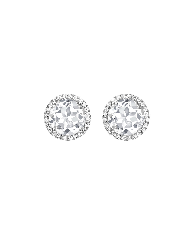 Grace White Topaz Diamond Halo Stud Earrings In 18k Gold