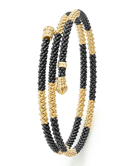 Black Caviar & 18K Gold Long Striped Coil Bracelet