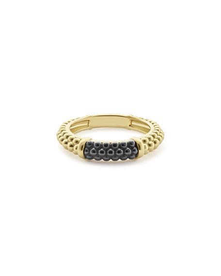 18K Gold & Black Ceramic Caviar Band Ring, Size 7