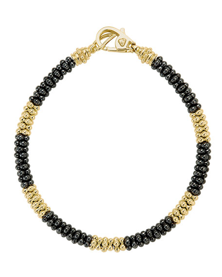 Black Caviar & 18K Gold Rope Bracelet