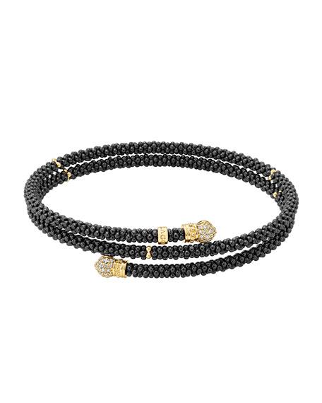 Lagos Black Caviar Coil Bracelet with Diamonds