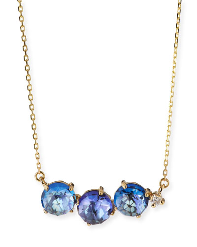 Uneven Blue Topaz Bar Necklace with Diamond
