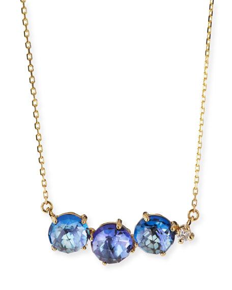 Uneven Blue Topaz Bar Necklace with Diamond