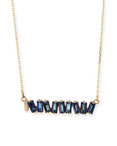 Fireworks English Blue Topaz & Diamond Necklace