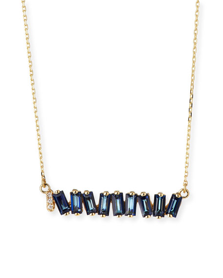 Fireworks English Blue Topaz & Diamond Necklace