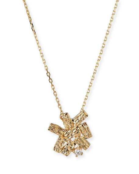 Mini Fireworks Burst Pendant Necklace with Diamonds