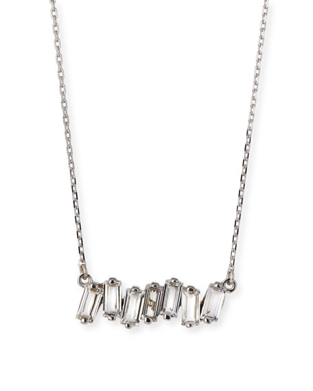 Signature Mini Fireworks White Topaz Bar Necklace