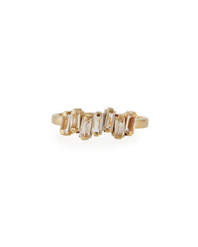 Fireworks Baguette White Topaz Band Ring in 14K Yellow Gold  Size 6.5