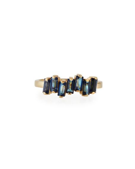 Fireworks Baguette Band Ring with English Blue Topaz, Size 6.5