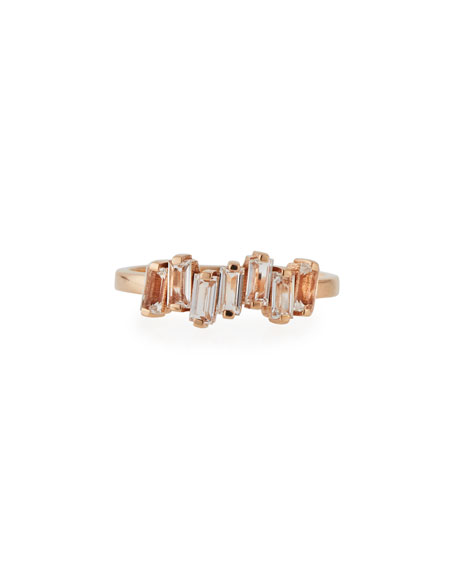 KALAN by Suzanne Kalan Fireworks Baguette Band Ring with White Topaz in 14K Rose Gold, Size 6.5