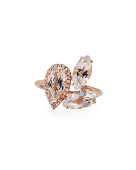 White Topaz & Diamond Cluster Ring in 14K Rose Gold, Size 6.5