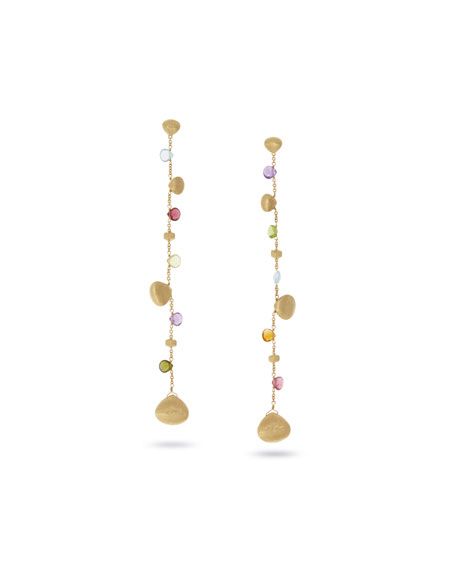 Marco Bicego Paradise Drop Earrings with Mixed Gemstones in 18K Yellow Gold
