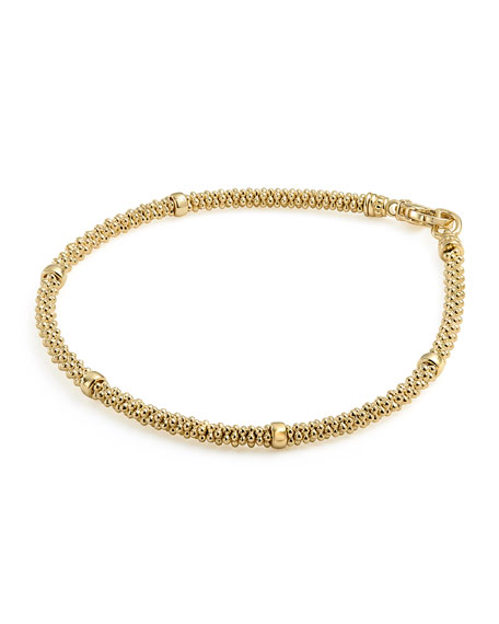 3mm Medium 18K Gold Caviar Rope Bracelet