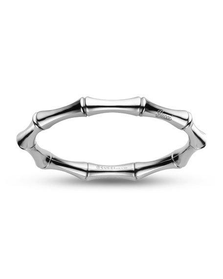 18K White Gold Bamboo Bangle Bracelet