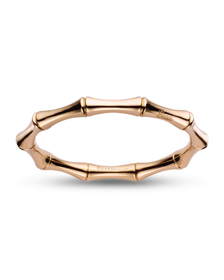 18K Rose Gold Bamboo Bangle Bracelet