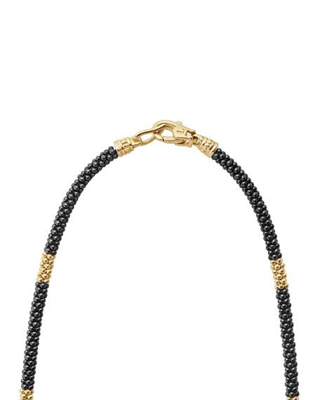 "LAGOS Medium Black Caviar & 18K Gold Station Necklace, 16""L"