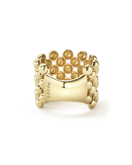 LAGOS 18K Gold Caviar Wide Band Ring, Size 7