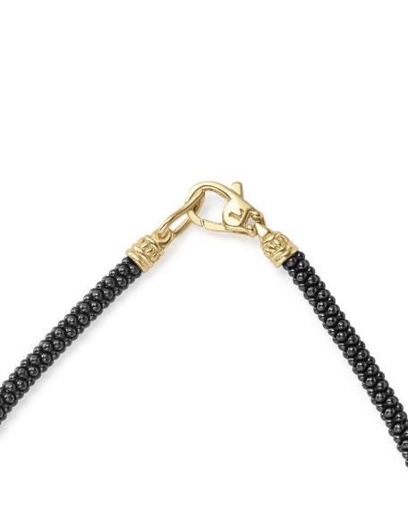 3mm Black Caviar & 18K Gold Rope Bracelet