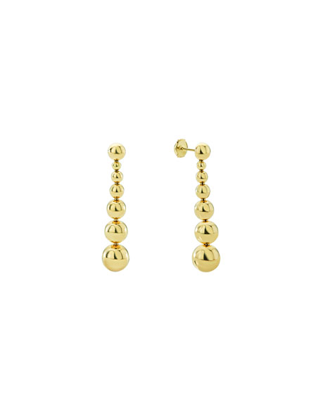 Small 18k Gold Caviar Ball Drop Earrings