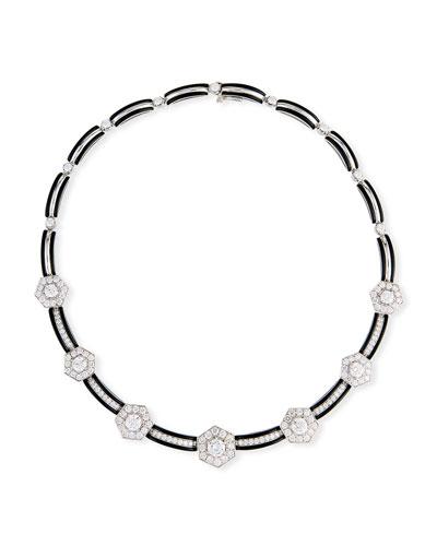 Black Onyx & White Diamond Hexagon Collar Necklace