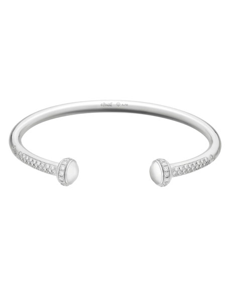 Possession 18K White Gold Open Bangle Medium with Diamonds
