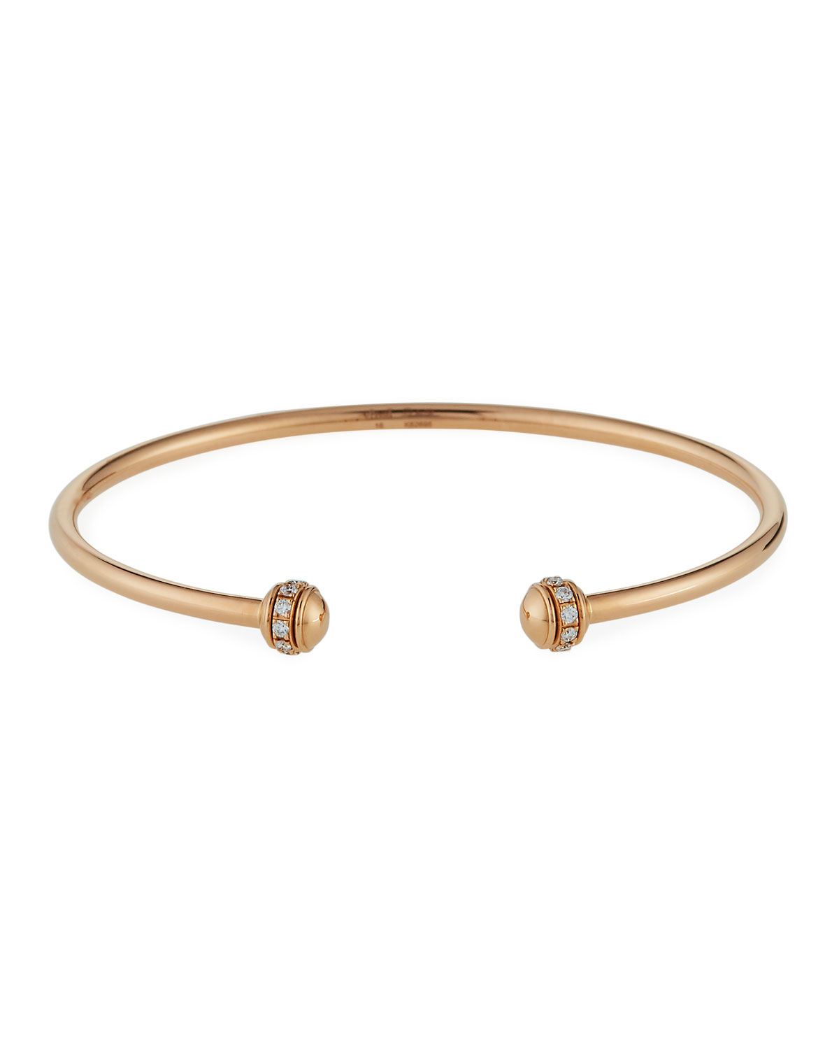 Piaget Possession Medium-Model 18K Red Gold Open Bangle with Diamonds, Size L