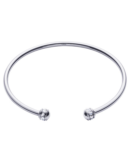 Possession Thin 18K White Gold Open Bangle with Diamonds
