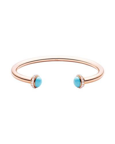 Possession Medium Turquoise Open Bangle with Diamonds, Size M