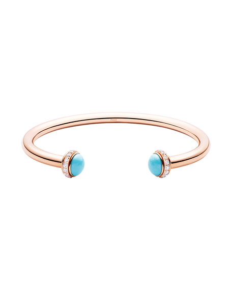 Possession Medium Turquoise Open Bangle with Diamonds, Size M