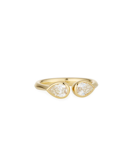 Pear-Shaped Diamond Duo Open Ring in 18K Yellow Gold