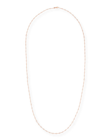 Diamond Bezel Necklace in 18K Rose Gold, 38""