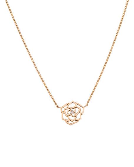 Piaget 18K Red Gold & Diamond Rose Pendant Necklace 2cplx