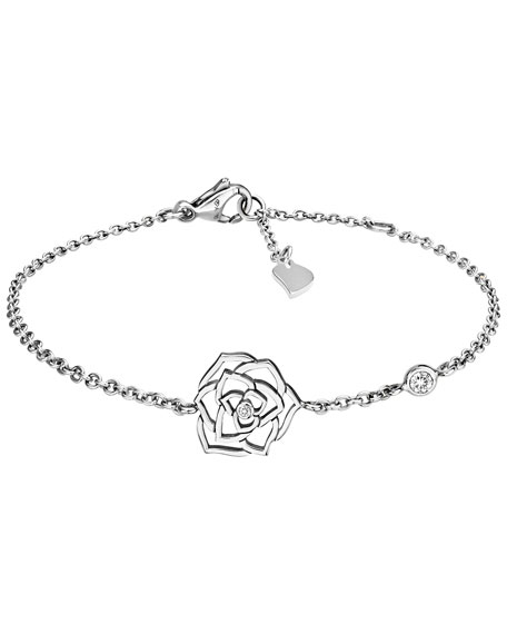 18K White Gold Rose Bracelet with Diamond