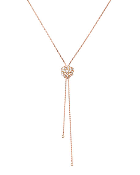 18K Red Gold Rose Lariat Necklace with Diamonds