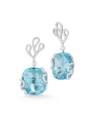 18k White Gold Sea Leaf Diamond & Topaz Earrings