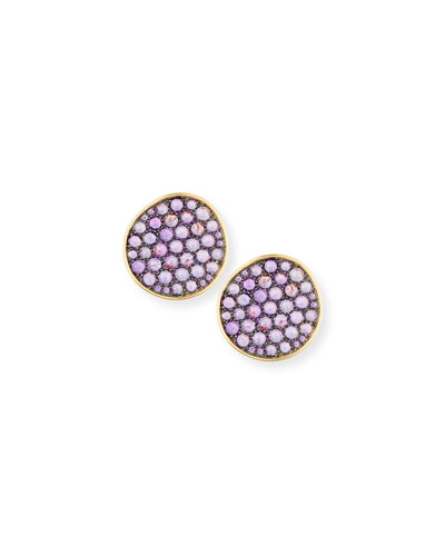 18K Yellow Gold Amethyst Button Earrings