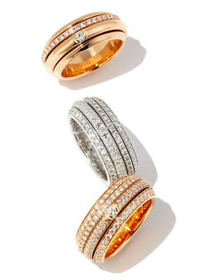 PIAGET Possession Turning Band Ring with Diamonds in 18K Red Gold, Size 54