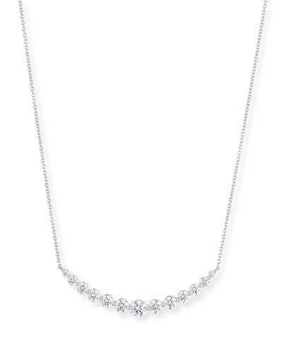 Graduated Diamond Smile Necklace in 18K White Gold