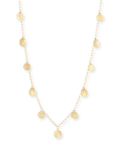 Diamond Coin Necklace in 18K Yellow Gold