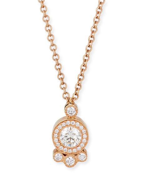 Diamond Cluster Pendant Necklace in 18K Rose Gold